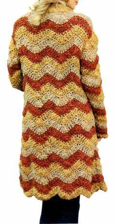 tejidos artesanales en crochet: tapado en zigzag tejido en crochet (talle large)
