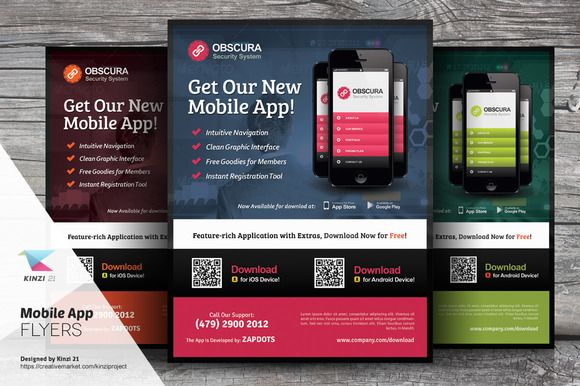 Mobile App Flyer Templates by kinzi21 on @creativemarket