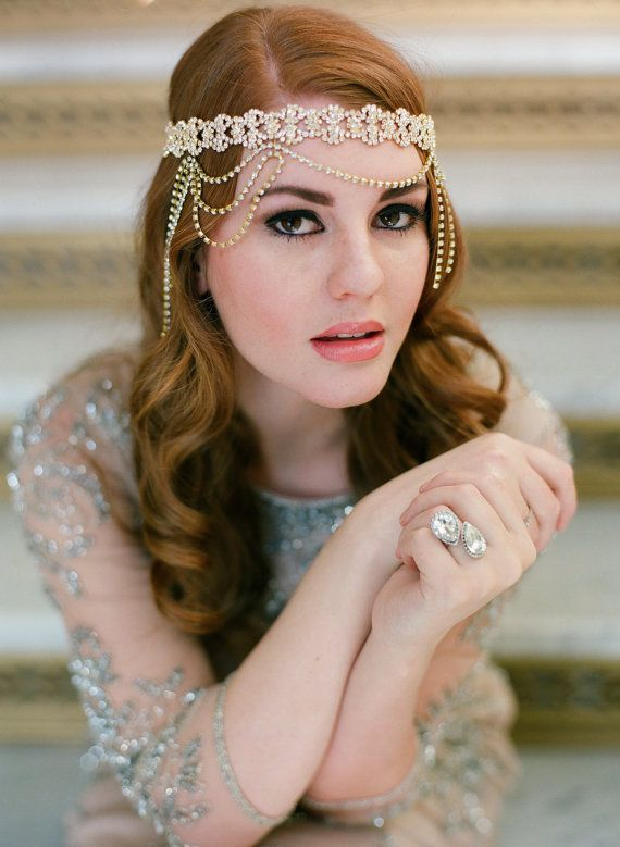 gold headpiece bandeau sparkle rhinestone bling gatsby bohemian 1920s vintage beach wedding forehead woodland