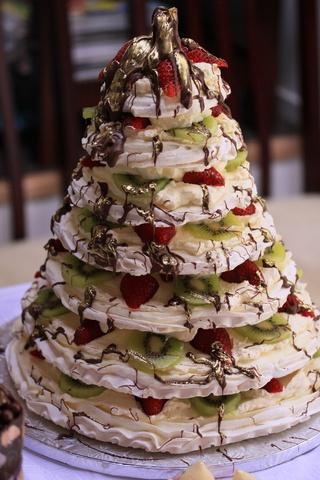 Meringue Bridal Tier with kiwi fruit and chocolate - Meringues - MarziAnn Buy Online