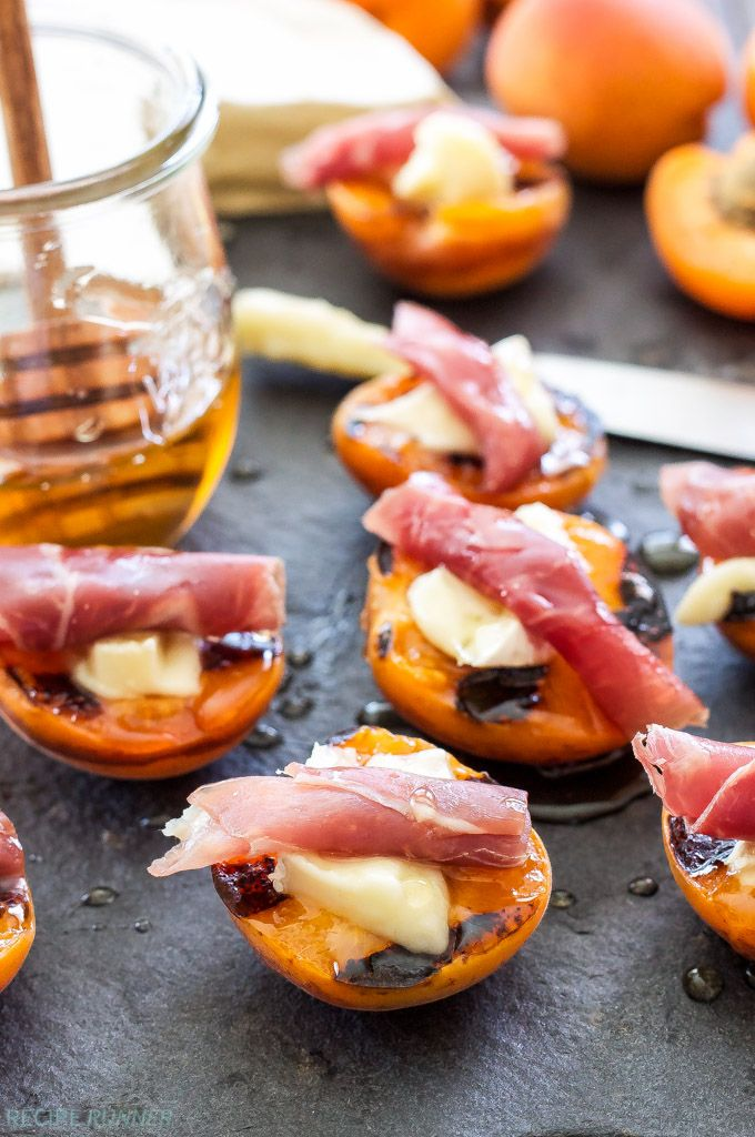 Grilled Apricots with Brie, Prosciutto and Honey