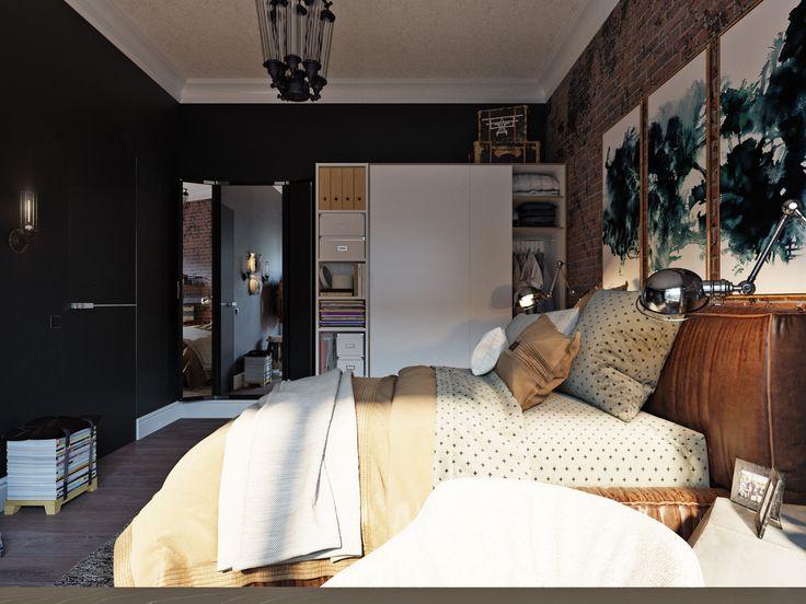 Спальня имеет немного американский характер, проявляющийся в тёмной отделке стен и кирпичной стене за кроватью. Открытая мебель, стол без громоздких нижних ящиков, открытая вешалка. Лёгкий беспорядок - может, и не самая одобряемая черта характера, но в ней есть некоторая загадочная расхлябанность, позволяющая творческим людям находиться в ресурсном состоянии и творить потрясающие вещи