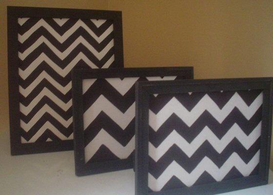 Chevron Canvas Art  8x10  Retro  Black and White by Stitchenmama, $23.00