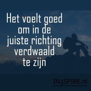 Het voelt goed om in de juiste richting verdwaald te zijn - spreuk www.ingspire.nl