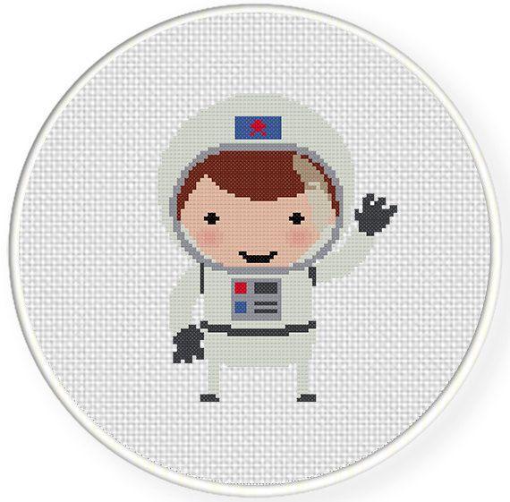 Astronaut PDF Cross Stitch Pattern Needlecraft por DailyCrossStitch