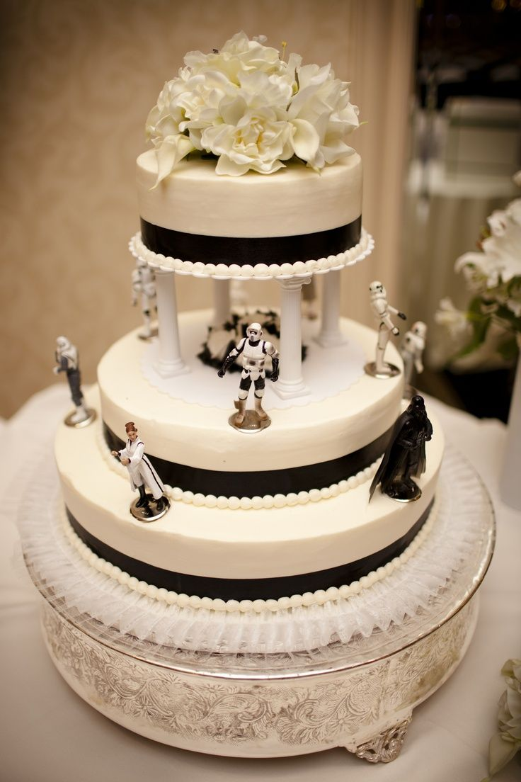 Star Wars Wedding Cake. Changing The Black Stripe Into A Royal Blue Stripe  Instead.
