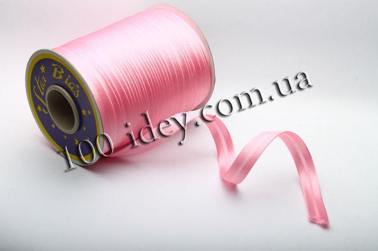 Косая бейка атласная светло-розовая