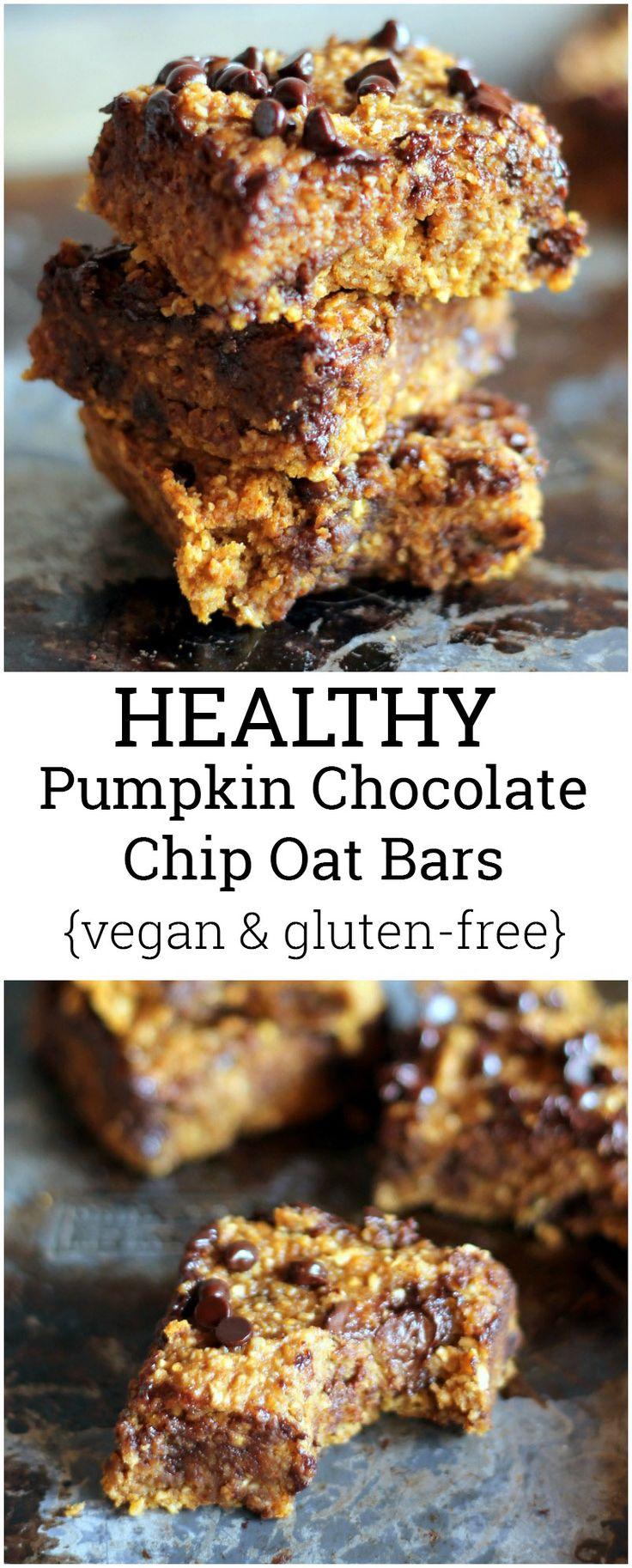 A healthy pumpkin chocolate chip bar made with oat flour and no butter! Vegan and gluten free!