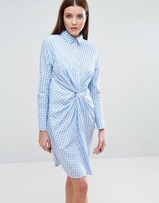 £60 Lavish Alice Twist Front Shirt Dress In Check