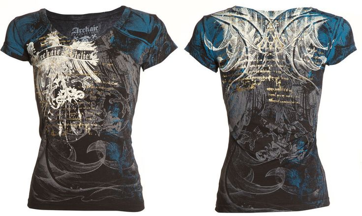 Archaic AFFLICTION Women T-Shirt CASCO Eagle Wings Tattoo Biker Sinful S-XL $32 #Affliction #GraphicTee