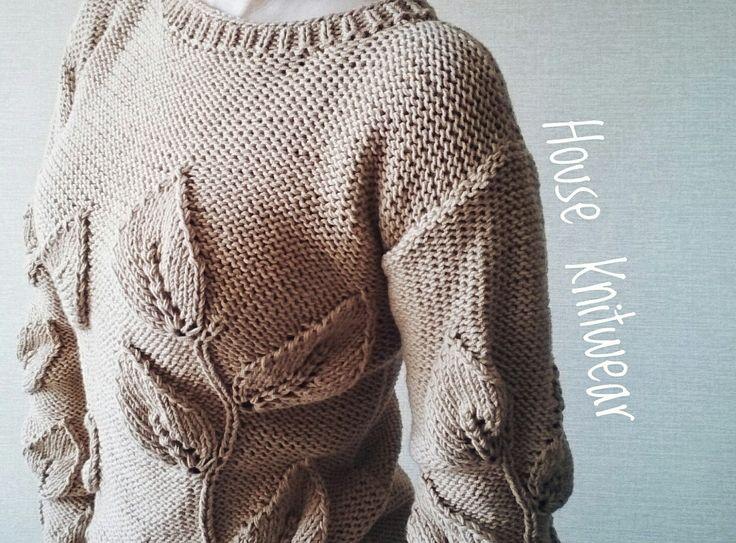 Свитер Листья, свитер ручной работы, женская одежда, женский свитер,  свитер на заказ, вязаный свитер