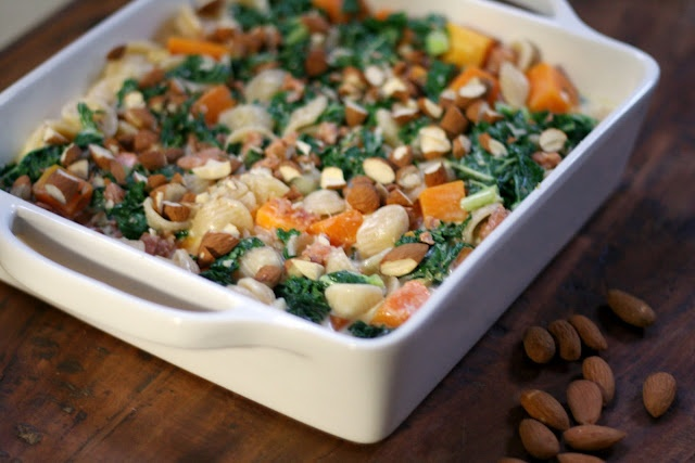 Baked Pasta with Butternut Squash, Sausage, and Kale