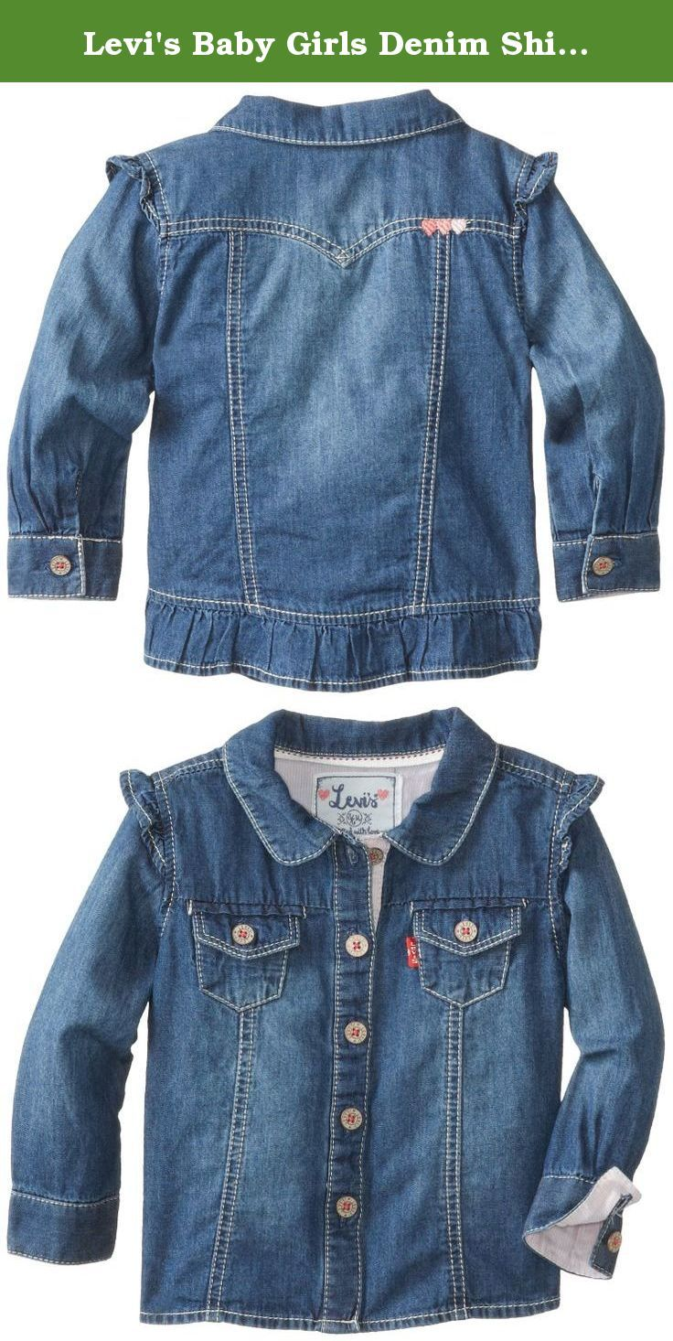 Levi's Baby Girls Denim Shirt, Iced Blue, 6-9 Months. The beauty is in the details of this feminine denim button-up. Levi's terry denim shirt for girls features levy's logo buttons, tri-heart embroidery and a fabric ruffle for a charming look you'll both love.