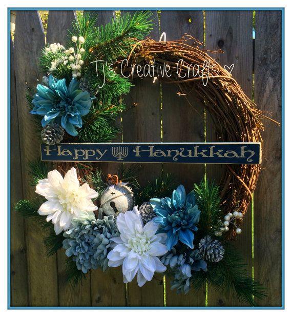 Elegant Hanukkah Wreath - Happy Hanukkah Wreath - Elegant Hanukkah Wreath - Hanukkah Decor - Hanukkah