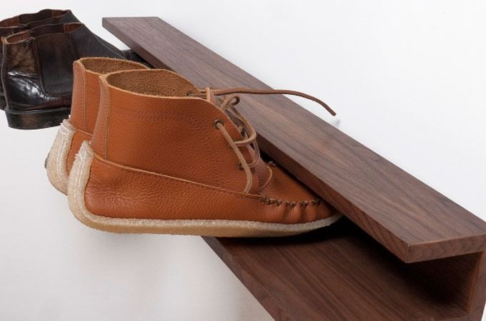 """One man's junk is another man's """"all you can eat buffet,"""" suggests the Canadian based designer/producer of this beautifully crafted shoe rack made mostly from recycled wood and materials..."""