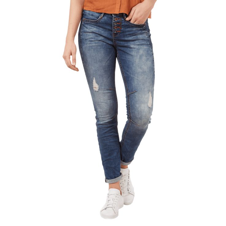 | #Tom #Tailor #Denim #Damen #Anti #Fit #Destroyed #Jeans mit #Knopfleiste