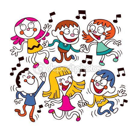 Niños bailando — Vector de stock #58760087
