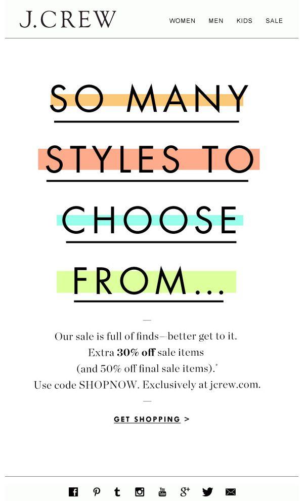 J.CREW : Sale email design newlsetter                                                                                                                                                      More