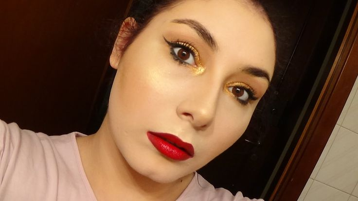 Hollywood Glam Makeup Tutorial: Easy Metallic Gold Eyes & Ombre Red Lips...