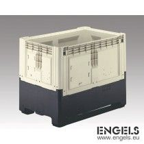 Palletbox, opvouwbaar, 2 sleden, 1200x800x980 mm, 839 ltr, beige/zwart