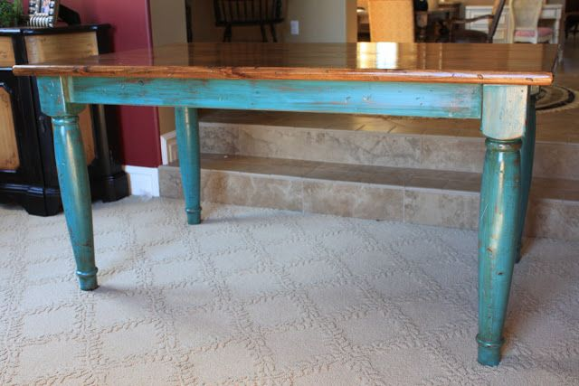 Reinvented Treasures, Inc.: Rustic Turquoise Table or Desk