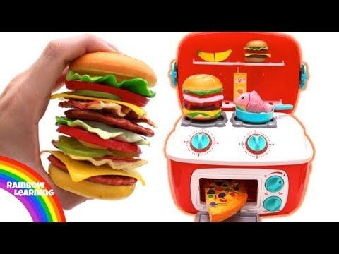 Toy Hamburger Playset Learn Fruit & Vegetables Play Doh Kitchen Pretend Play for Kids - YouTube