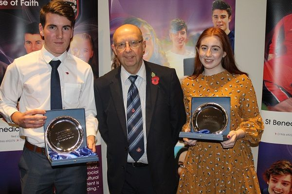St Benedict's Students return for Celebration of Achievement Evening http://www.cumbriacrack.com/wp-content/uploads/2017/11/Brian-Hough-from-NDA-with-Joseph-Brennan-Grace-Ridley.jpg Past students from St Benedict's Catholic High School, have this evening attended a special awards ceremony to mark their success whilst at the school.    http://www.cumbriacrack.com/2017/11/13/st-benedicts-students-return-celebration-achievement-evening/