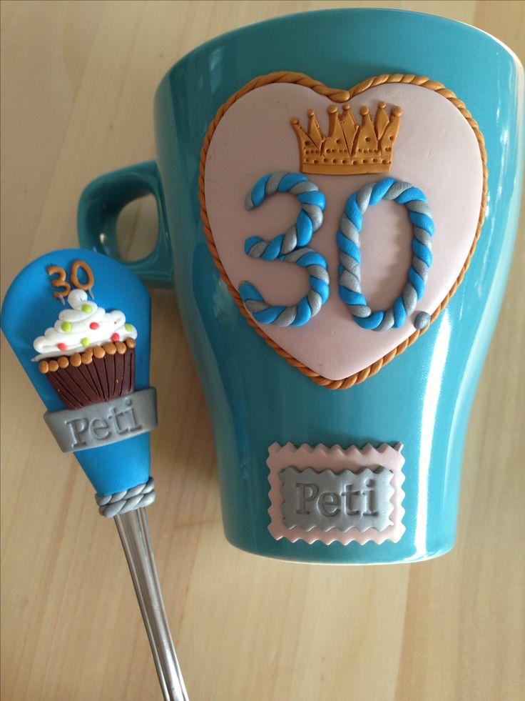 30. Bday polymer clay spoon&mug