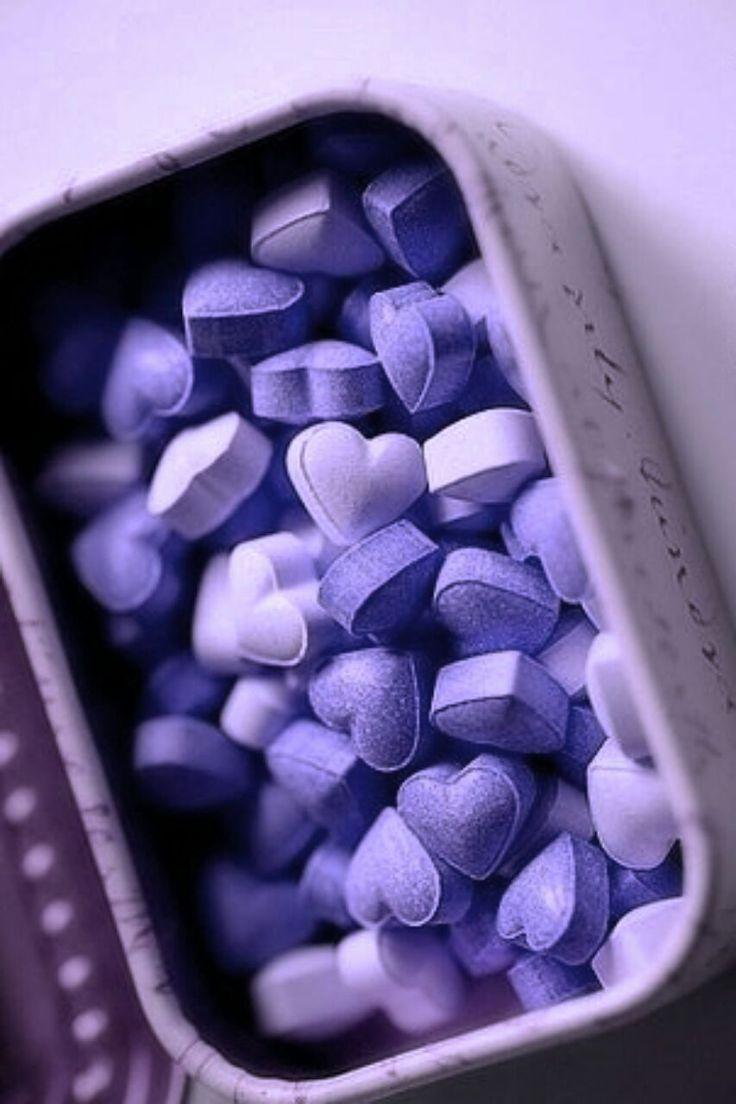Purple heart sweets/candy. For similar pins please follow me at -https://www.pinterest.com/annelouise1959/colour-me-purple/