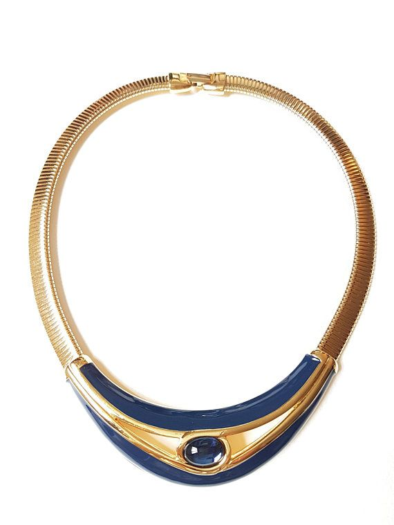 c54b407f Vintage Napier Collar Choker Necklace Gold Tone with Navy Blue ...