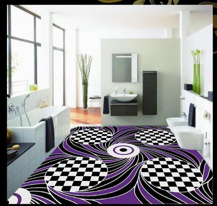 Creative 3D пол фиолетовый узор обоев 3d винил ПВХ этаж не скользит водонепроницаемый самоклеящиеся обои полы