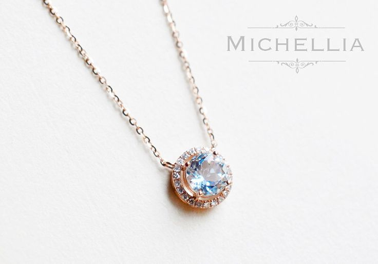 14K/18K Gold Aquamarine Necklace with Halo Diamond, Solid Gold Natural Aquamrine Pendant, March Birthday Gift, Rose Gold, White Gold by MichelliaDesigns on Etsy https://www.etsy.com/listing/289549941/14k18k-gold-aquamarine-necklace-with