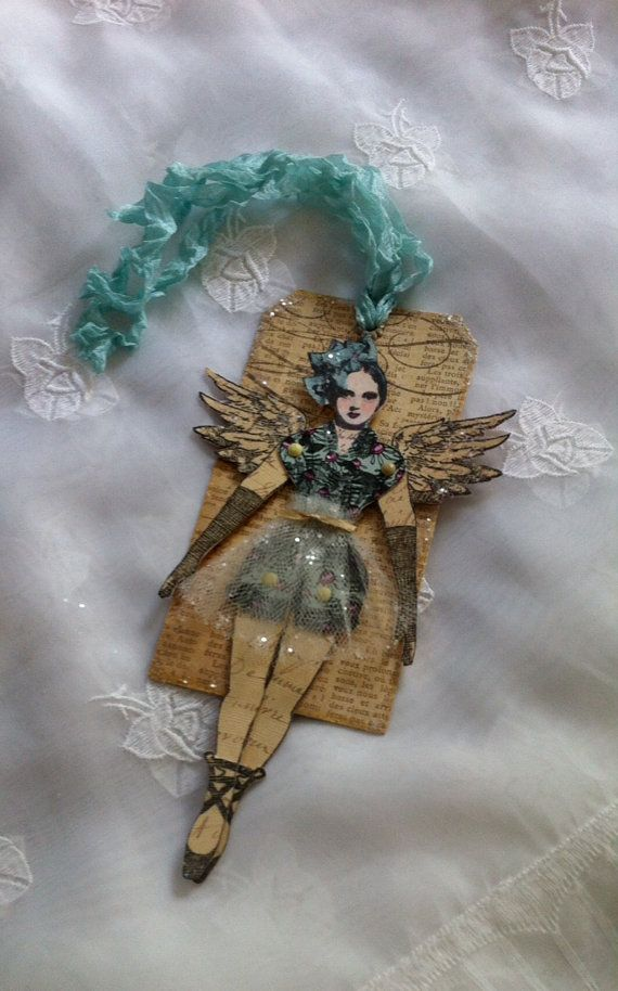 Christmas Art Tag Paper Doll Mixed Media Ballerina by ParisPluie, $10.00