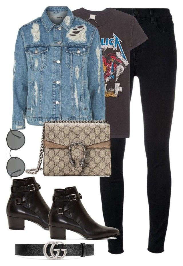 """""""Untitled #3548"""" by theaverageauburn on Polyvore featuring J Brand, MadeWorn, Topshop, Gucci, Yves Saint Laurent and Ray-Ban"""