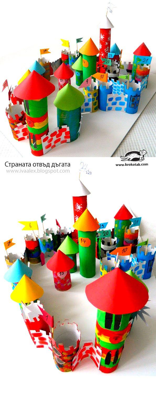 Christmas advent calendar - THE CASLE - DIY toilet paper roll castle for kids