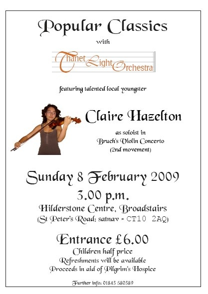 Thanet Light Orchestra with Claire Hazelton, February 2009