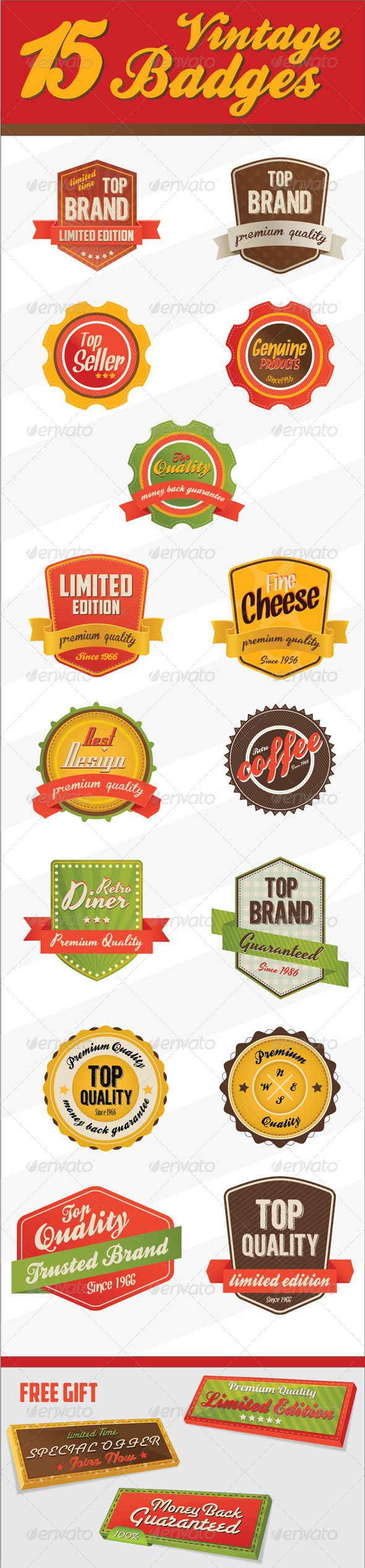 Retro Vintage Badges & logo  #GraphicRiver         15 Retro Vintage Badges customizable & organized 100% Vector and are completely editable.  	 Badges are perfect to use as logos, buttons or as promotion graphics for your website.