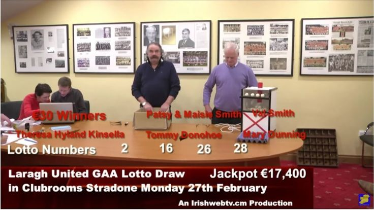 Laragh United GAA Lotto Draw for €17,400 from Clubrooms Stradone Monday ...