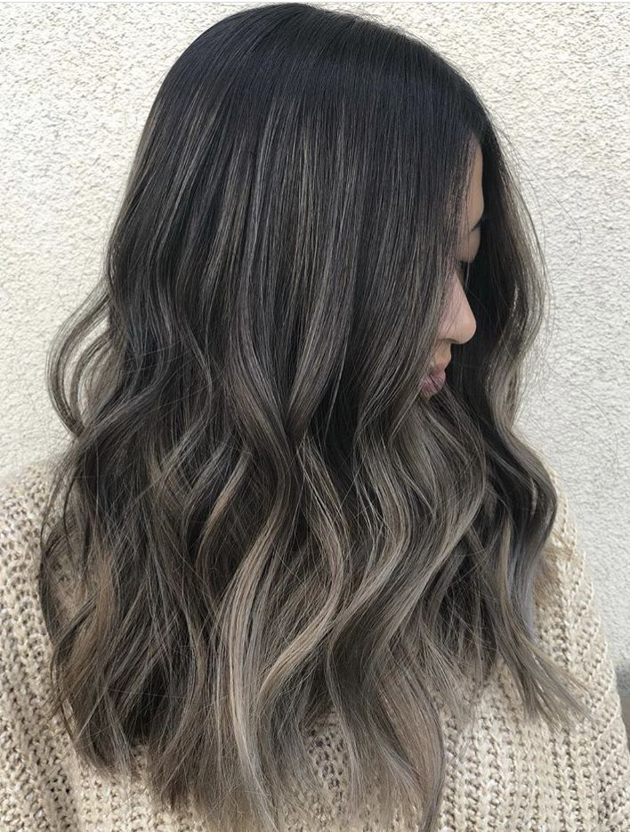 Ash Blonde Ombre On Dark Brunette Base Hair Highlights Black Hair Ombre Black Hair With Highlights
