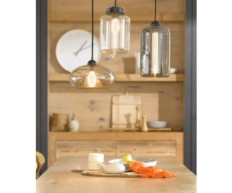 Jensen 1 Light Round Pendant in Dark Bronze/Amber | Pendant Lights | Lighting