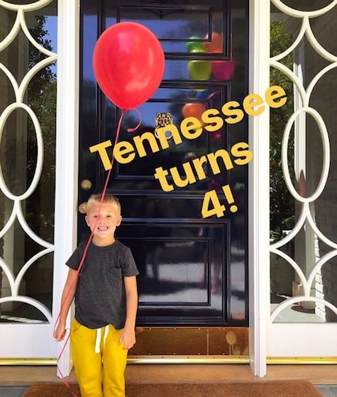 Reese Witherspoon celebrates son Tennessee's 4th birthday on September 27, 2016