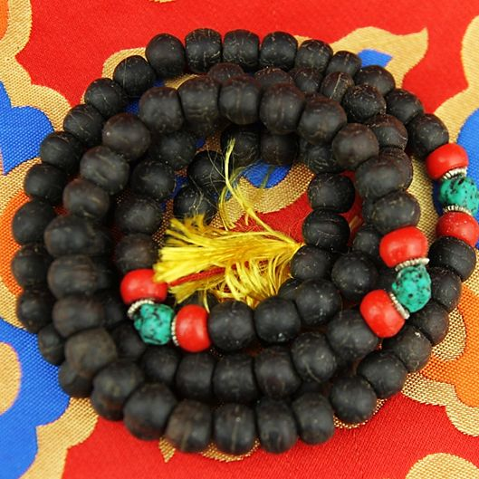 Mala Bodhiboom zaden donker 108 kralen + sierkralen -