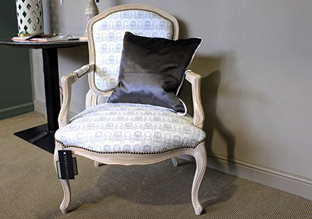 """Elegant """"#Pipit"""" #Chair NEW in store and online!! Lime Oak finish with a #classic #antique styled design it boasts elegance.  Handmade curves featuring a popular grey and white Louis chair pattern, It has antique studding which stands out.  Only one in stock so hurry!!  #waringstore #warings #norwich #handmade"""