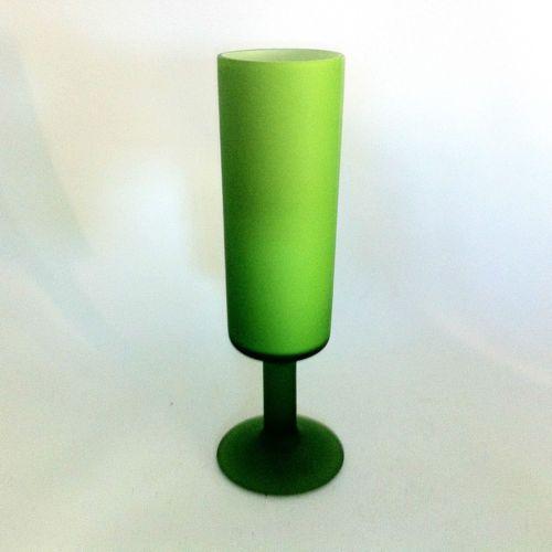 MURANO-Itay-GLAS-Pokal-Vase-gruen-weiss-CARLO-MORETTI-Satinato-16-7-cm-a59