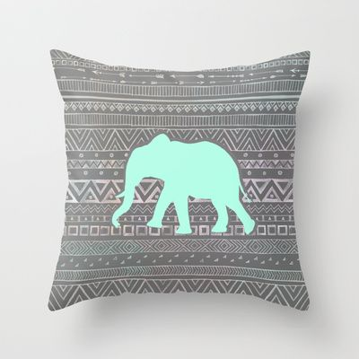 Mint Elephant  Throw Pillow by Sunkissed Laughter - $20.00   This sight has amazing pillows!