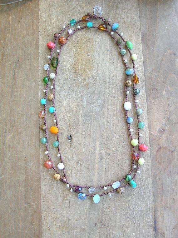 Buntes Halsband Boho Schmuck lange Boho Kette von 3DivasStudio