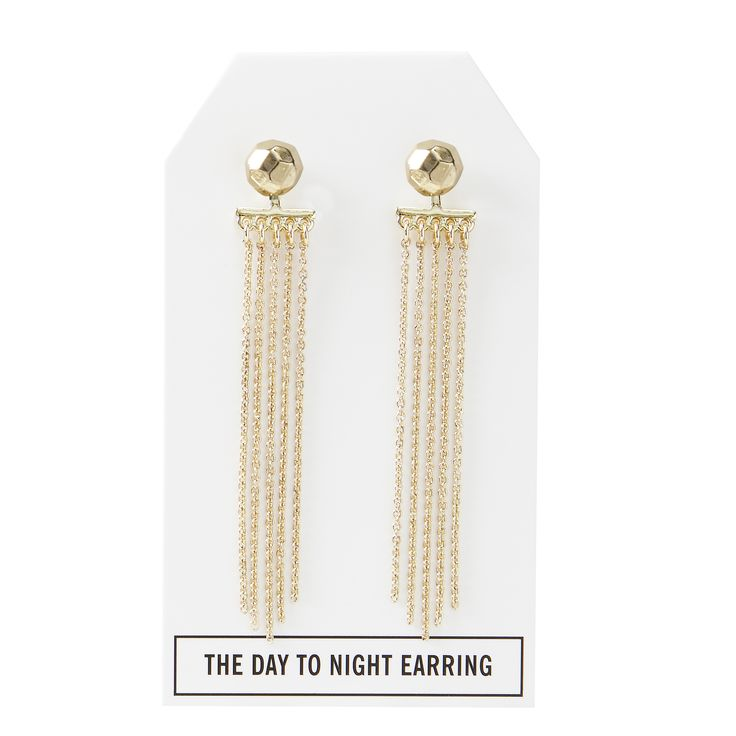 Nugget Day to Night Earring in Gold - available in gold, silver, and gunmetal. $28. #goldearrings #goldjewelry #convertiblejewelry #fancyearrings #daytonight #daytonightearrings #jewelrygift
