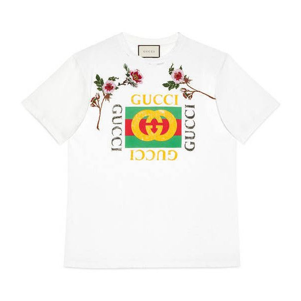 gucci tee. gucci print cotton t-shirt ($595) ❤ liked on polyvore featuring tops tee