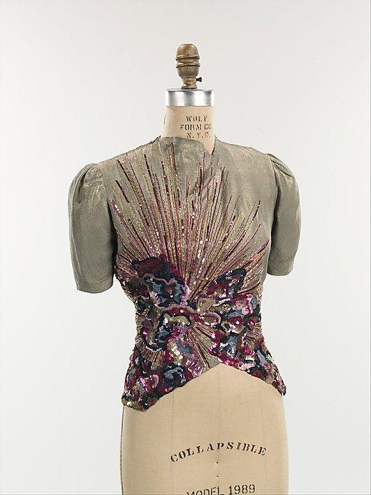 Schiaparelli Blouse - FW 1938-39 - by Elsa Schiaparelli (Italian, 1890-1973) - Silk, metal. Embroidery by Lesage