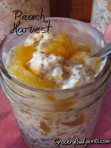 Harvest Peach Overnight Oatmeal 1/4 c. Old fashioned rolled oats, uncooked 1/3 c. vanilla almond milk  1/4 c. vanilla yogurt 2 tsp chia seeds 1/4-1/3 cup Peaches, diced 1 tsp Honey 1/2 tsp cinnamon